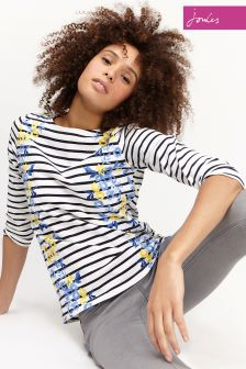 Joules Navy Rose Stripe Harbourprint Top