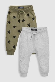 Embossed Star Knee Joggers Two Pack (3mths-6yrs)