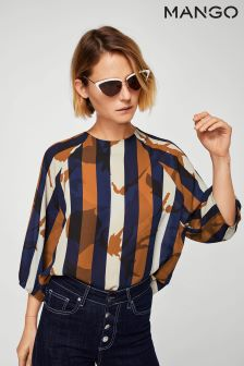 Mango Terracotta Navy and White Stripe Blouse