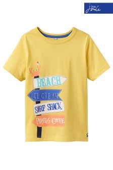 Joules Yellow Ben Screen Print Jersey T-Shirt