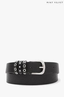 Mint Velvet Black Stud Eyelet Leather Belt