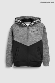 Abercrombie & Fitch Grey And Black Colourblock Hoody