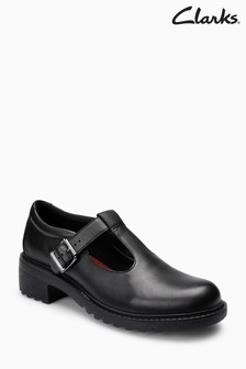 Clarks Black Leather Frankie Street T-Bar Youth Shoe