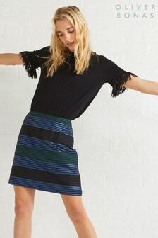 Oliver Bonas Blue Rise Jacquard Skirt