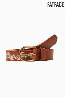 FatFace Brown Floral Embroidered Leather Belt