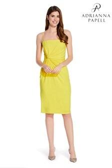 Adrianna Papell Yellow Wrap Detail Jersey Sheath Dress