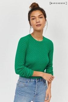 Zielony sweter przeszyciami w kształcie wachlarzy Warehouse