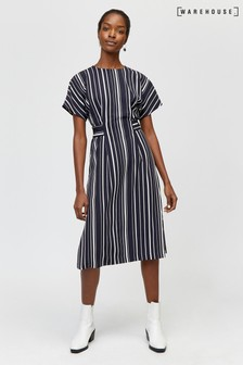 Warehouse Blue Stripe Button Side Tab Dress
