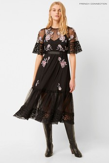 French Connection Black Ambre Embroidered Floral Dress