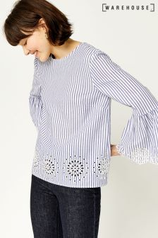 Warehouse Blue Broderie Hem Top