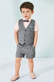 Waistcoat And Shorts With Pink Shirt And Bow Tie Set (3mths-6yrs)