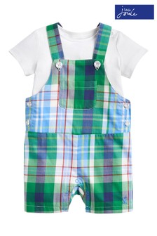 Joules Green Check Woven Dungaree And T-Shirt Set