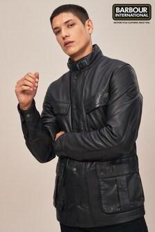 Barbour® International Black Paul Leather Jacket