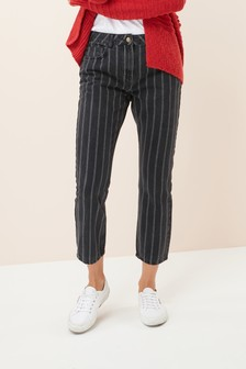 Striped Ankle Length Straight Jeans