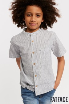 FatFace Natural Stripe Grandad Shirt