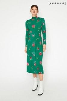 Warehouse Green Watercolour Floral Midi Dress