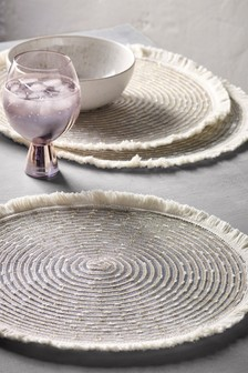 Set of 4 Metallic Thread Woven Placemats
