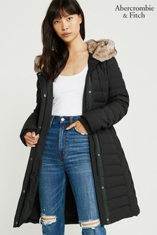 Abercrombie & Fitch Black Down Parka Jacket