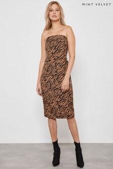 Mint Velvet Animal Bandeau Jacquard Dress