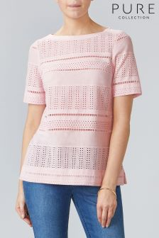 Pure Collection Pink Cotton Broderie Anglais Top