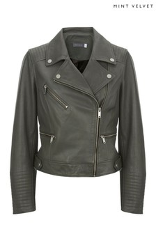 Mint Velvet Pine Leather Biker Jacket