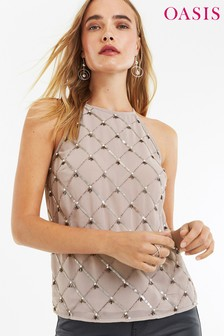 Oasis Grey Embellished Halter Top