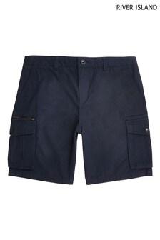 River Island Navy Cargo Shorts