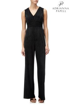 Adrianna Papell Black Deep V-Neck Pleated Jumpsuit