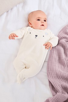 Velour Bear Sleepsuit (0-18mths)