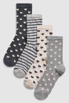 Spot/Heart Pattern Ankle Socks Four Pack