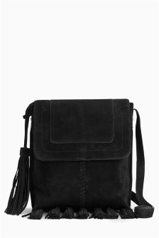 Leather Fringe Messenger Bag