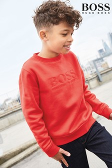 BOSS Red Embossed Crew Neck Sweater