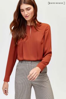Warehouse Rust Plain Button Long Sleeve Neck Blouse