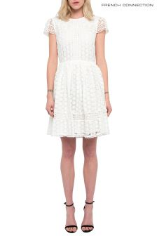 French Connection White Parker Lace Fit And Flare Dress