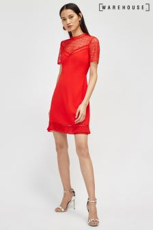 Warehouse Bright Red Crepe Lace Dress