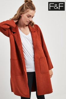 F&F Brick Suedette Duster Coat
