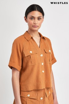 Whistles Eldora Linen Pocket Shirt