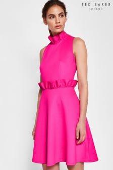 Ted Baker Janein Pink Ruffle Waist Dress