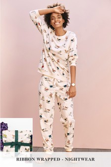 Ski Animals Pyjamas With Ribbon Wrapping