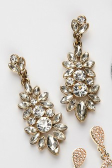 Jewelled Flower Drop Earrings
