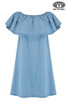 Animal Senorita Chambray Blue Bardot Woven Dress