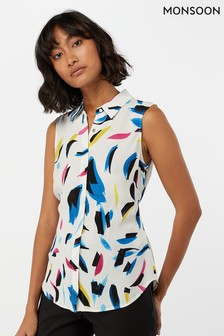Monsoon Ladies Cream Hoxton Print Sleeveless Shirt