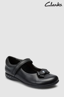 Chaussures babies Clarks Prime Skip en cuir noir avec nœud