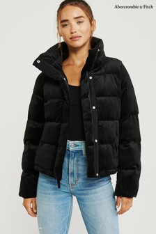 Abercrombie & Fitch Black Velvet Padded Jacket