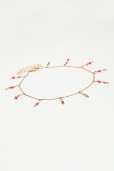 Multi Coloured Delicate Beaded Tassel Anklet