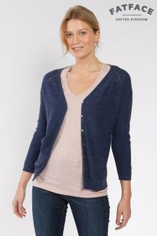 FatFace Navy Organic Cotton Rose Cardigan