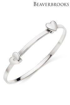 Beaverbrooks Children's Mini B Silver Diamond Heart Bangle