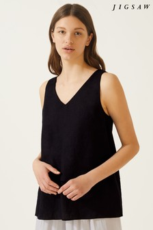 Jigsaw Black Linen Layered Top