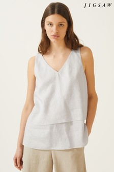 Jigsaw Grey Linen Layered Top