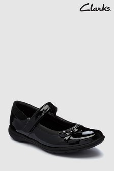 Clarks Black Patent Bow Venture Star Mary Jane